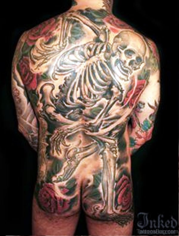 Picture Of Skeleton Tattoo On Back