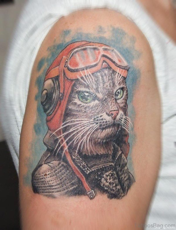 Pilot Cat Tattoo On Shoulder