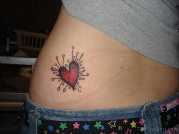 Pinched Heart Tattoo On Waist