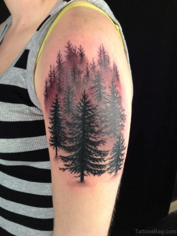 Pine Tree Tattoo On Shoulder