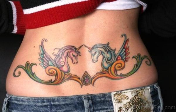 Pink And Blue Unicorn Tattoo On Lower Back