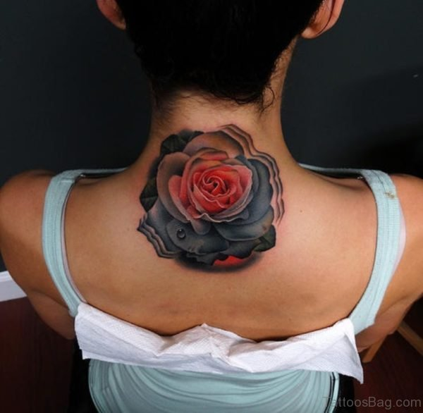 Pink And Grey Rose Tattoo