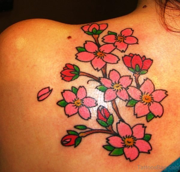 Pink And Red Flowers Tattoo On Shoulder