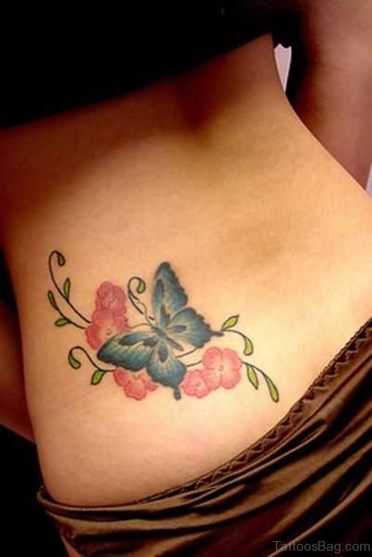 Pink Butterfly And Pink Flowers Tattoo