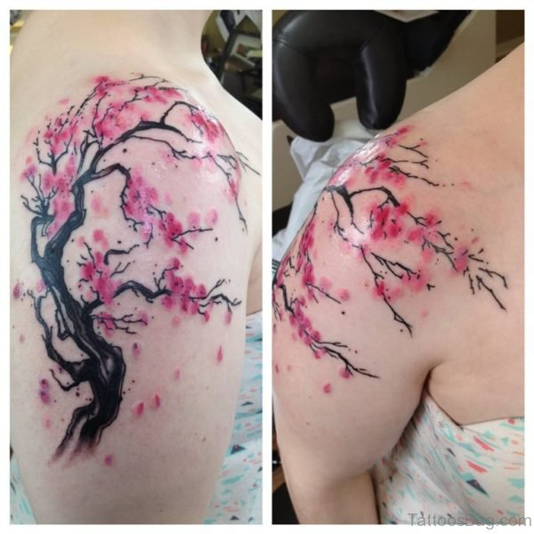 Pink Cherry Blossom Tree Tattoo On Girl Shoulder