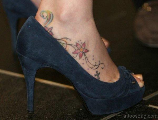 Pink Flower Vine Ankle Tattoo