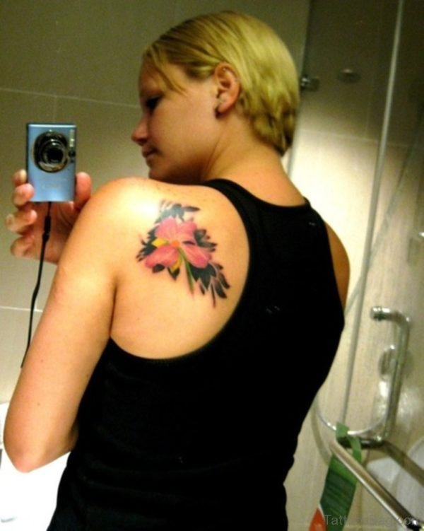 Pink Flowers Tattoo On Back