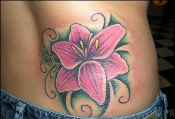 Pink Lily Flower Tattoo On Waist