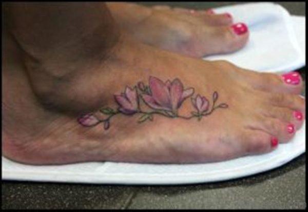 Pink Magnolia Tattoo On Foot 3