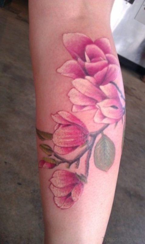 Pink Magnolia Tattoo On Leg