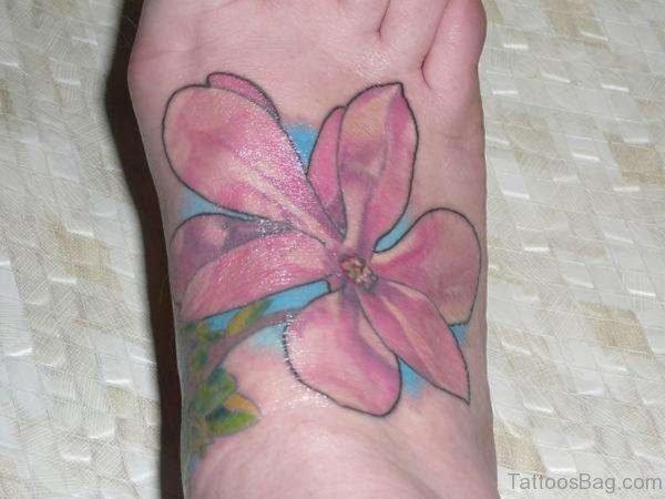 Pink Magnolia Tattoo on Foot