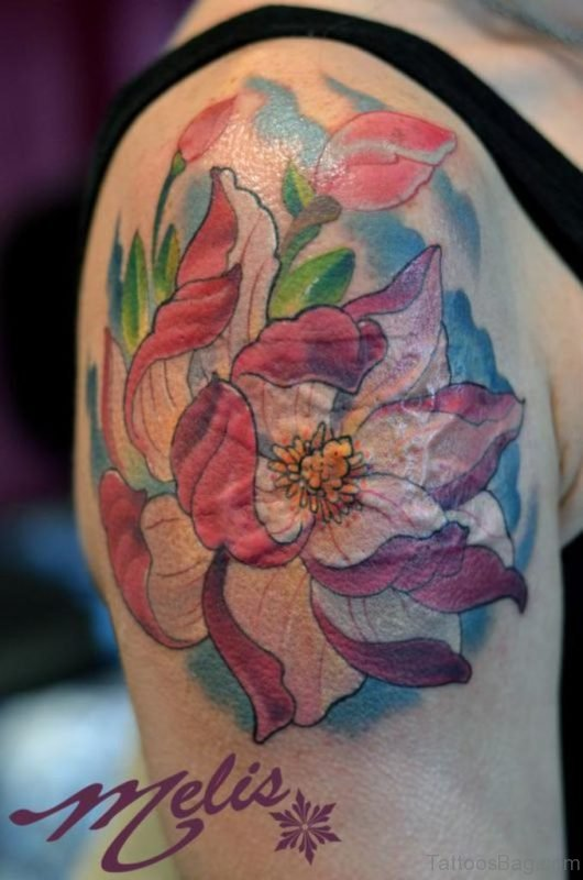 Pink Magnolia Tattoo on Shoulder