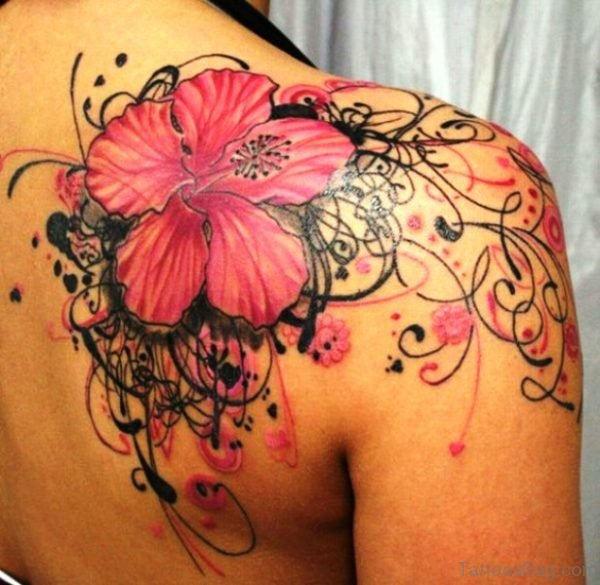 Pink Orchid Tattoo On Shoulder