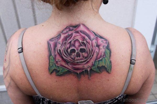 Pink Rose Skull Tattoo