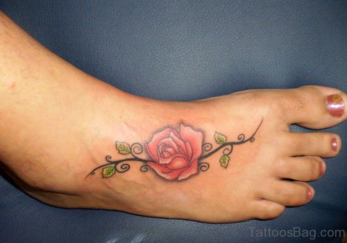 Pink Rose Tattoo On Foot
