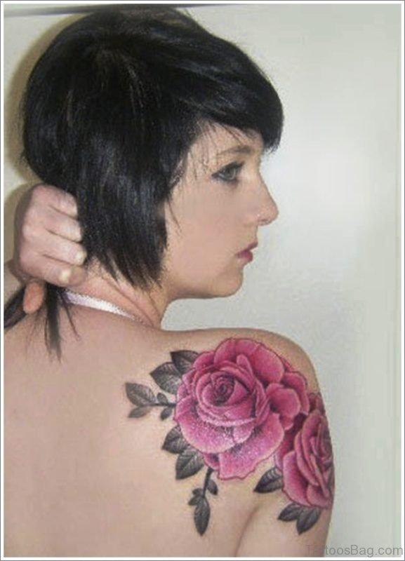 Pink Roses Tattoo On Shoulder