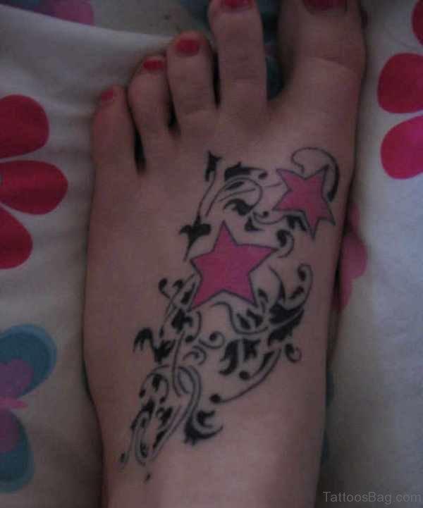 Pink Stars Tattoo Design