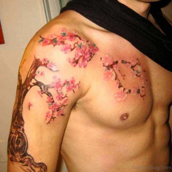 Pink Tree Tattoo
