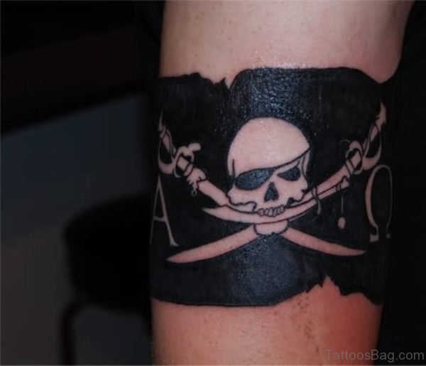 Pirate Flag Tattoo On Shoulder