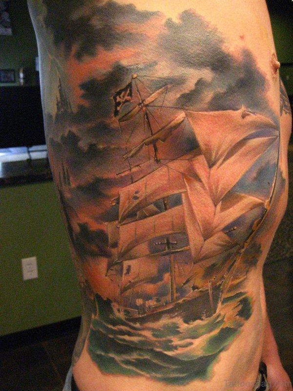 Pirate Ship Tattoo Design On Rib