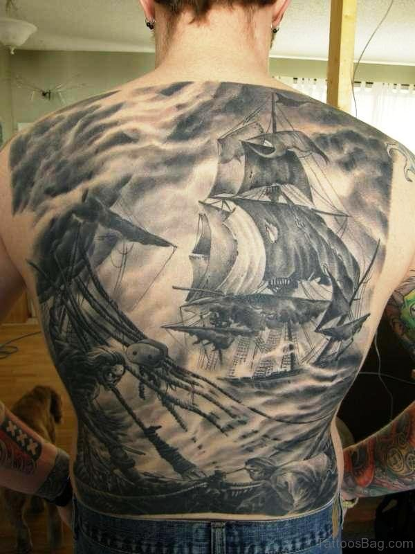 Pirate Ship Tattoo On Back