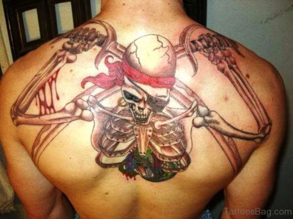 Pirate Skull Tattoo On Back