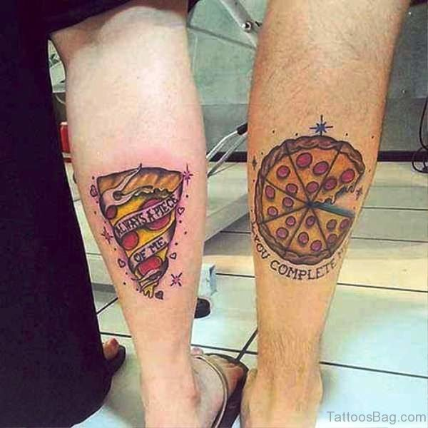 Pizza Tattoos On Both Calf