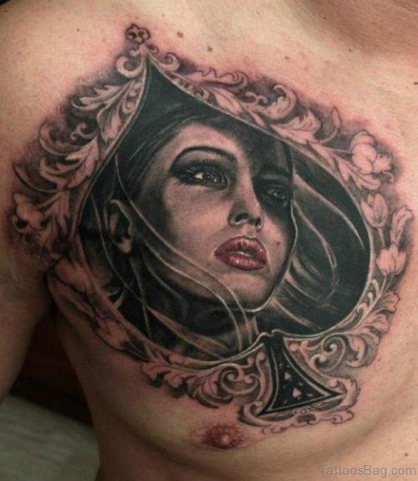 Poker Portrait Tattoo On chest