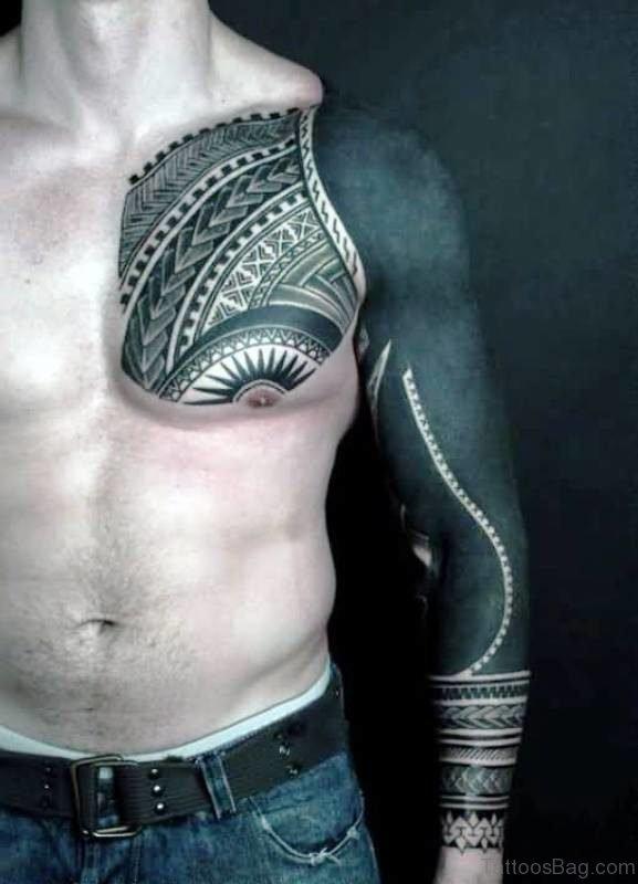 Polynesian Tribal Black Tattoo On Chest