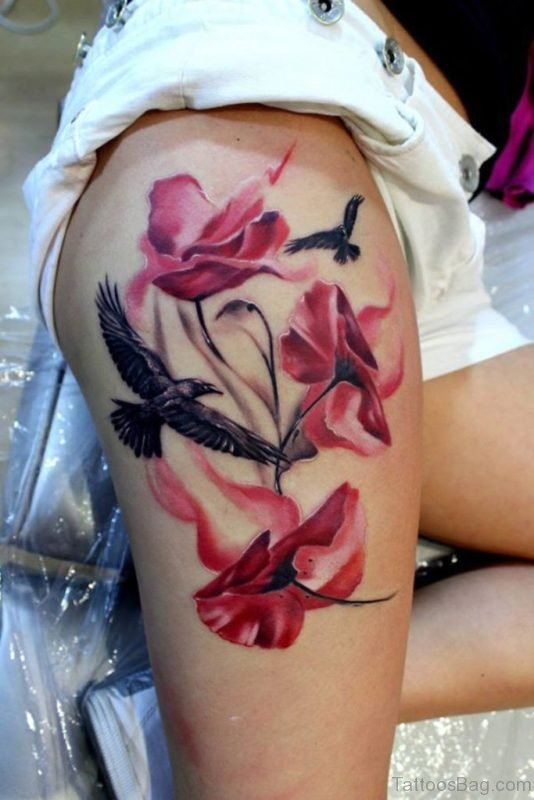 Poppy And Bird Tattoo On Thigh