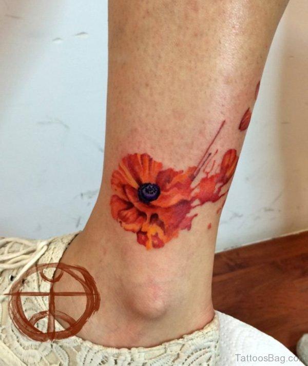 Poppy Flower Tattoo On Ankle