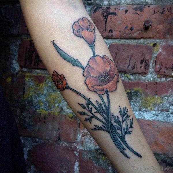 Poppy Flower Tattoo On Arm