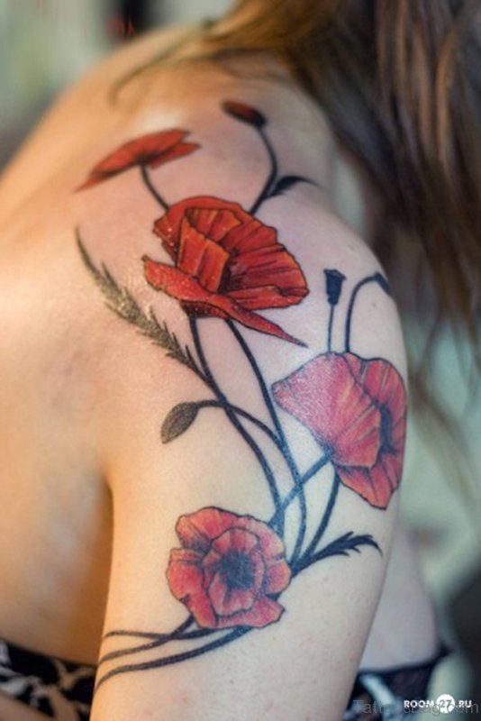 Poppy Shoulder Joint Tattoo