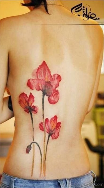 Poppy Tattoo On Lower Back