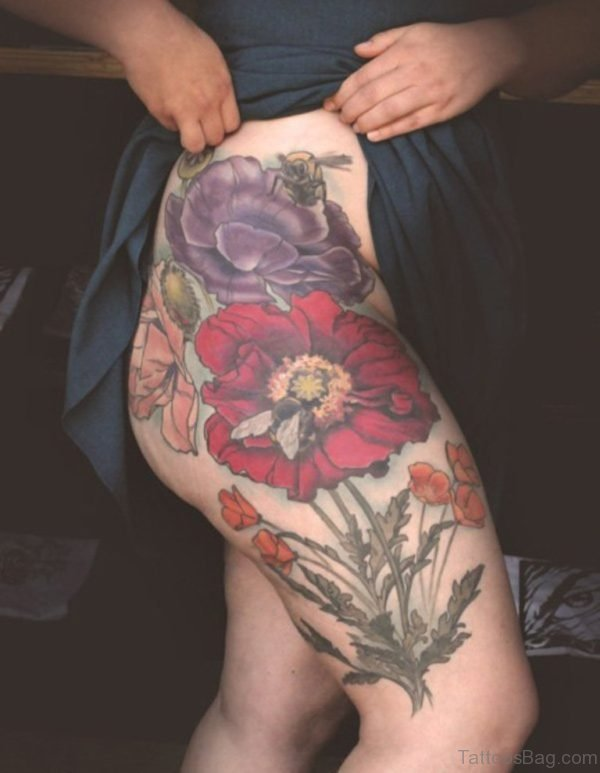 Poppy Tattoo On Thigh