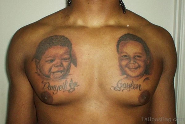 Portrait Tattoo Design On Chest