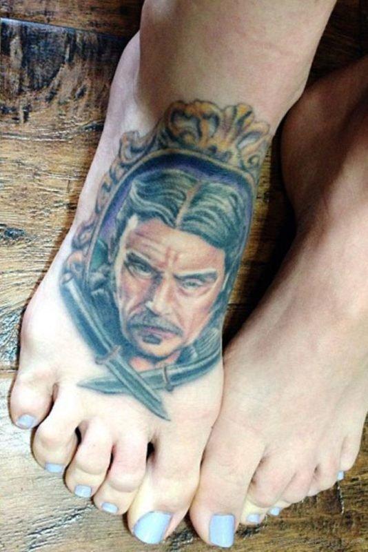 Portrait Tattoo On Foot