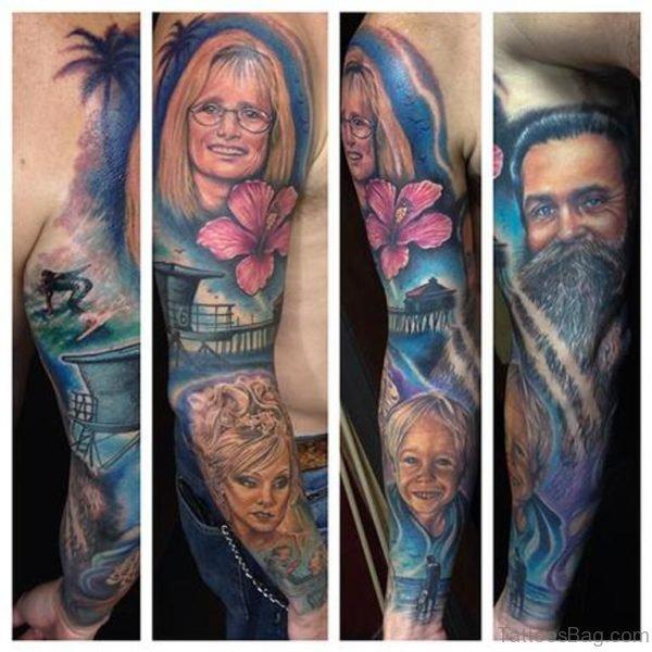 Portrait Tattoo On Full Sleeve