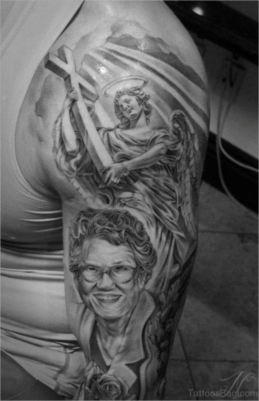 Portrait Tattoo On Shoulder