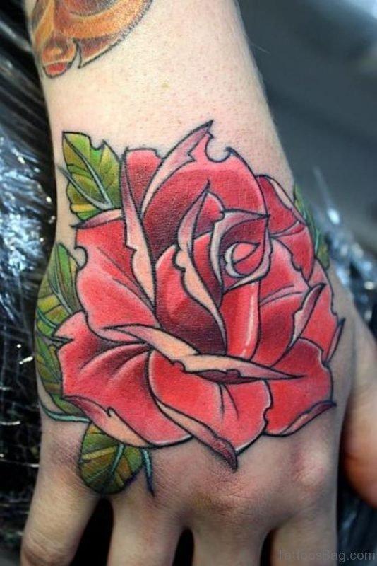 Powerful Rose Tattoo on hand