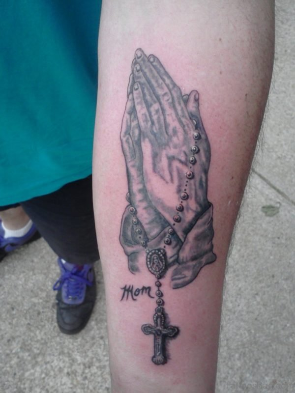 Praying Hands And Rosary Tattoo