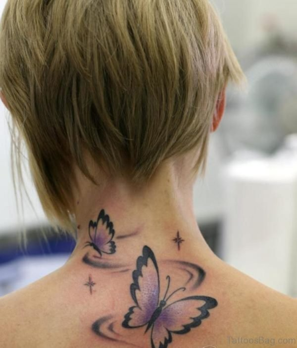 Pretty Butterfly Tattoo On Nape