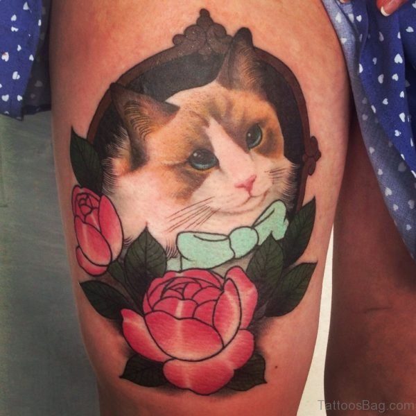 Pretty Cat Tattoo On Thigh