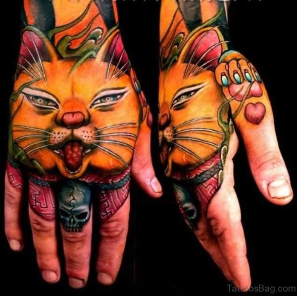 Pretty Cat Tattoo On hand