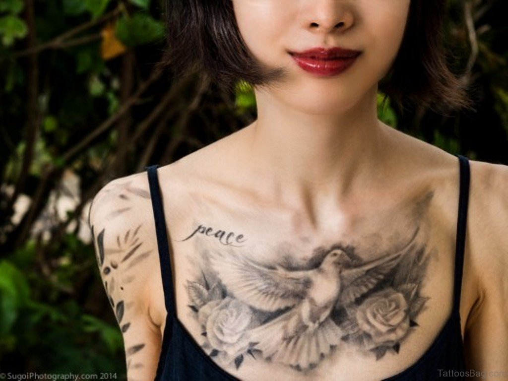 40 ultimate dove tattoos for chest for Pretty breast tattoos