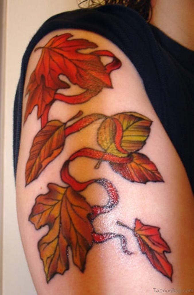 62 attractive leaves tattoos for shoulder. Black Bedroom Furniture Sets. Home Design Ideas