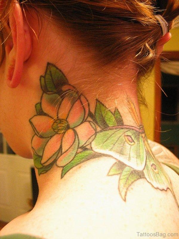 Pretty Magnolia Tattoo On Nape