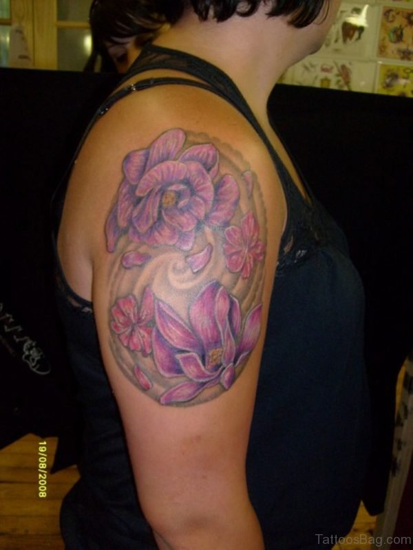 Pretty Magnolia Tattoo On Shoulder