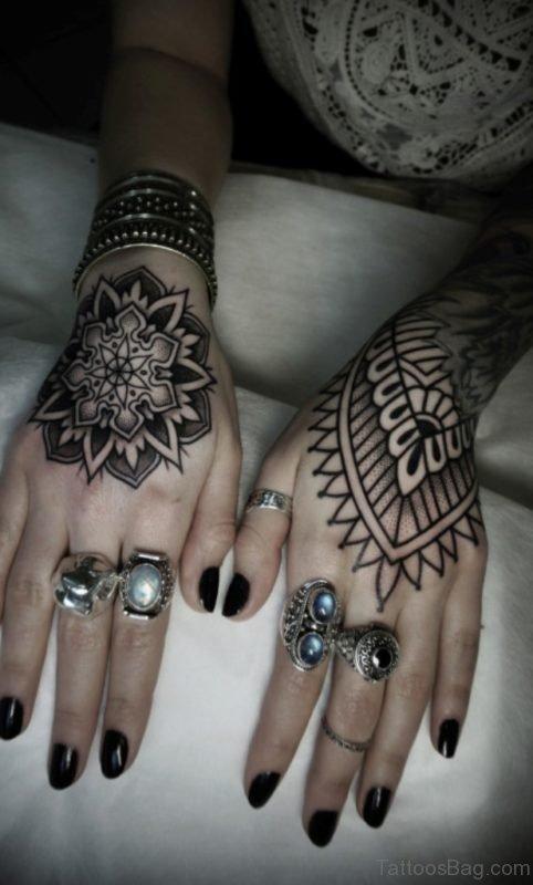 Pretty Mandala Tattoo On Hand