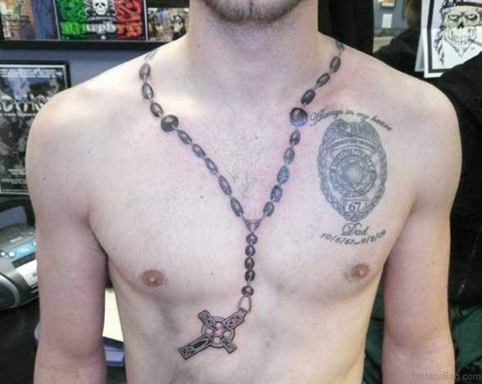 40 religious rosary tattoos for chest for Rosary cross tattoo